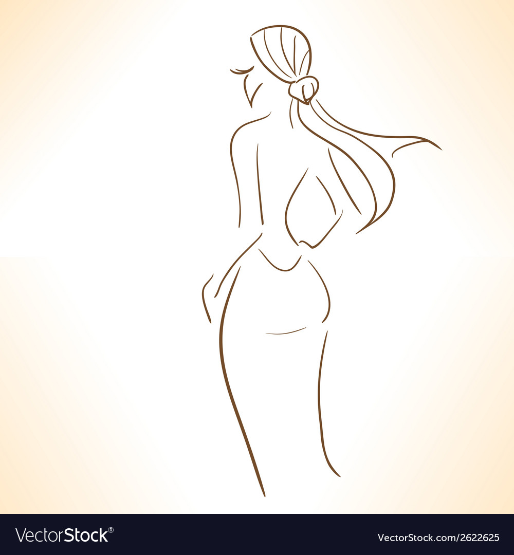 Symbolic silhouette of lady vector | Price: 1 Credit (USD $1)
