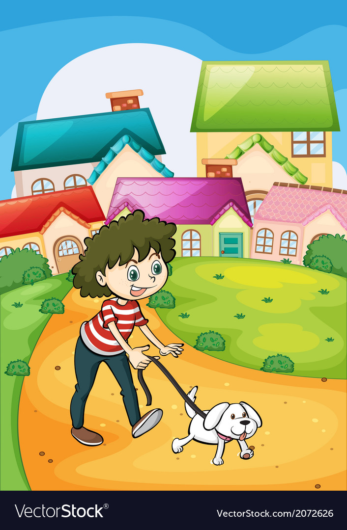 A lady strolling with her white puppy vector | Price: 1 Credit (USD $1)