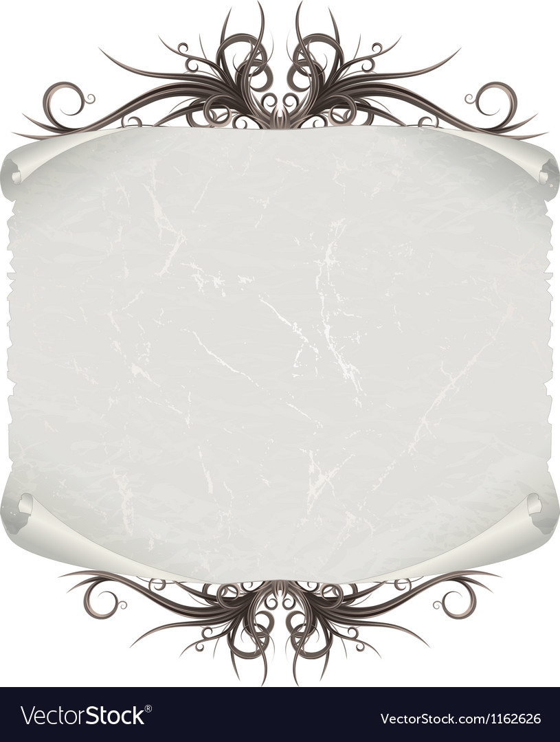 Aged paper scroll or script on white background vector | Price: 1 Credit (USD $1)
