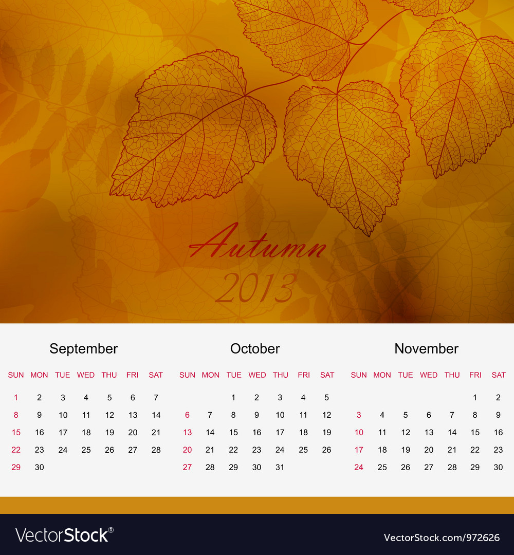 Autumnal calendar page of new 2013 year vector | Price: 1 Credit (USD $1)