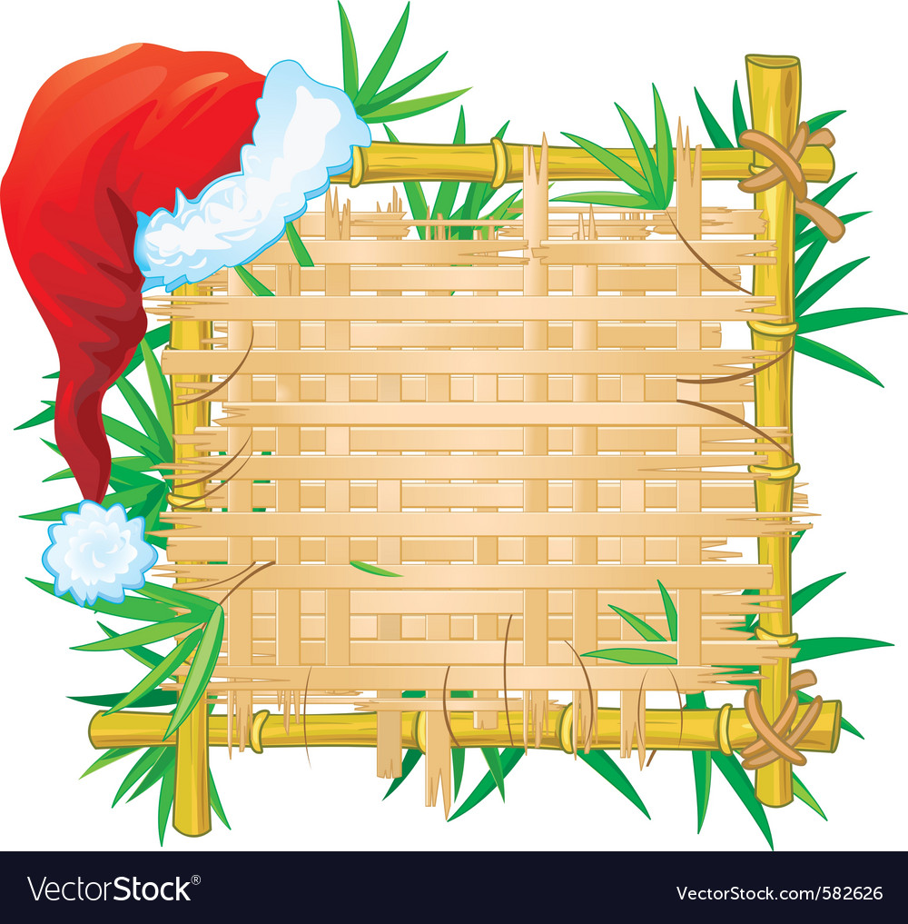 Bamboo frame with santa hat vector   Price: 3 Credit (USD $3)