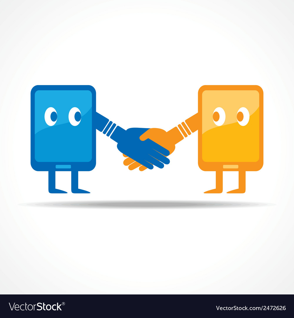 Businessman handshake with tablet stock vector | Price: 1 Credit (USD $1)