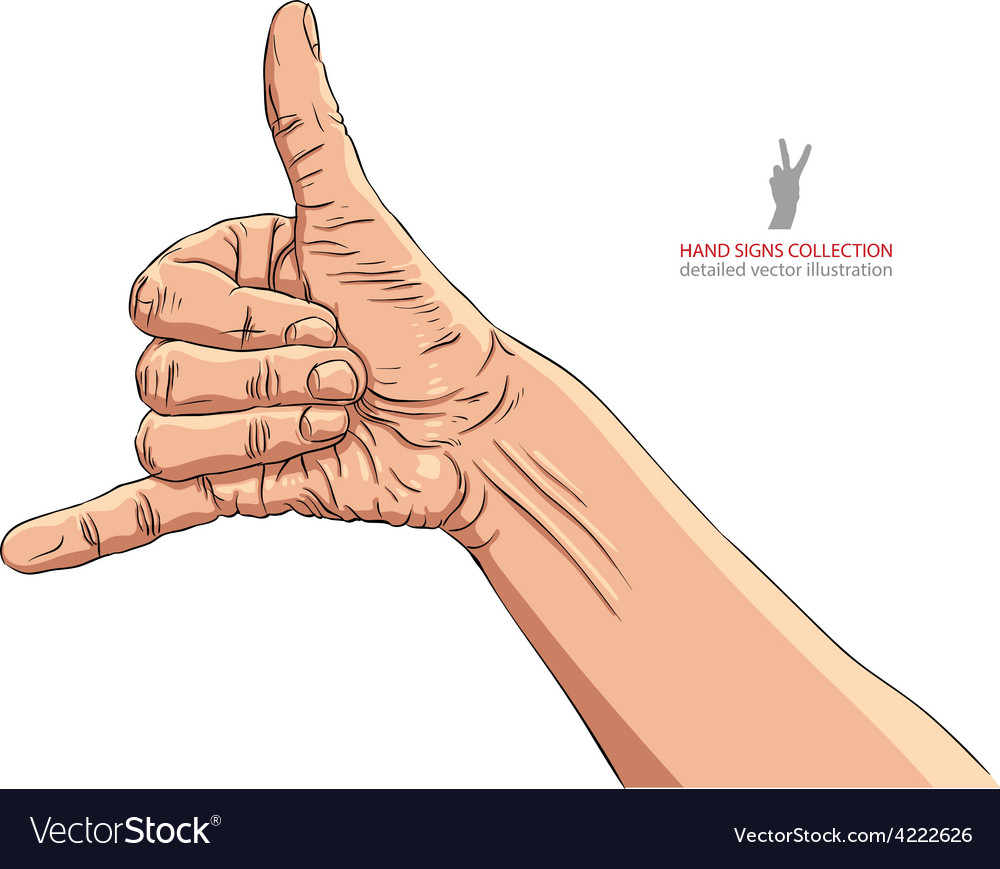 Call me hand sign detailed vector | Price: 1 Credit (USD $1)