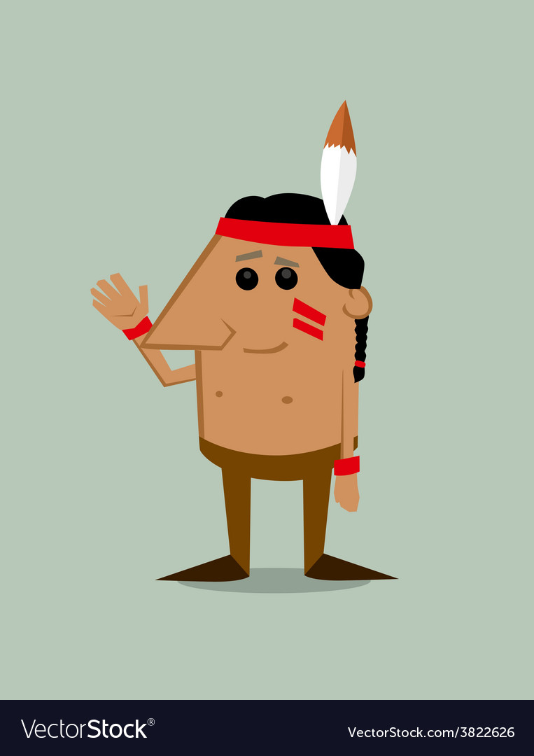 Cartoon native american man vector | Price: 1 Credit (USD $1)