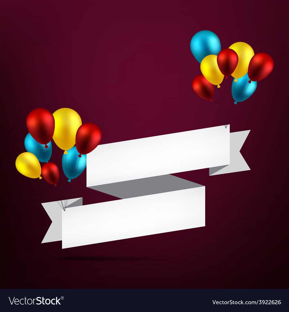 Celebrate ribbon background with balloons vector   Price: 1 Credit (USD $1)