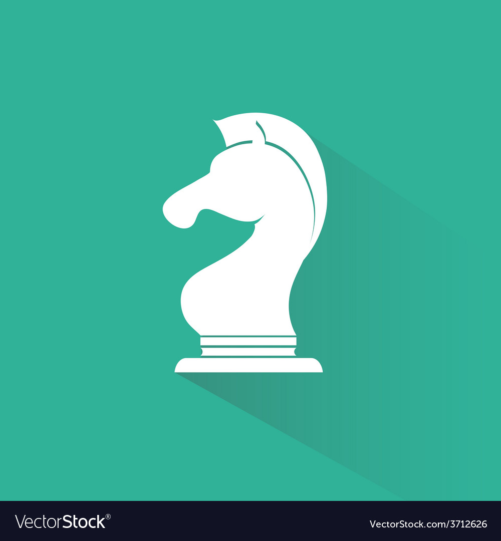 Chess knight icon with long shadow vector | Price: 1 Credit (USD $1)