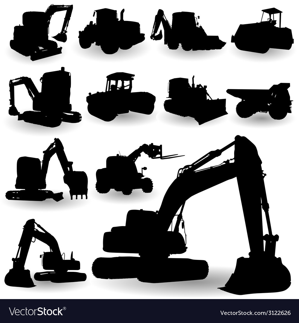 Construction work machine silhouette vector | Price: 1 Credit (USD $1)