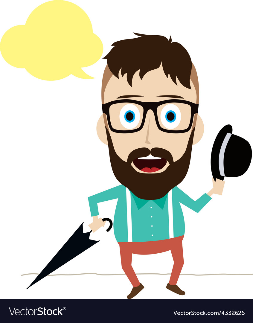 Fun guy with umbrella and bowl hat vector   Price: 1 Credit (USD $1)