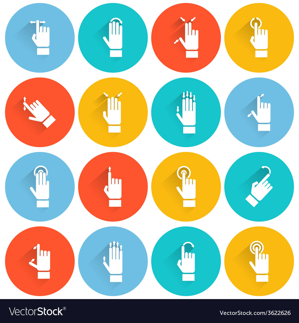 Hand touching screen flat icon vector | Price: 1 Credit (USD $1)