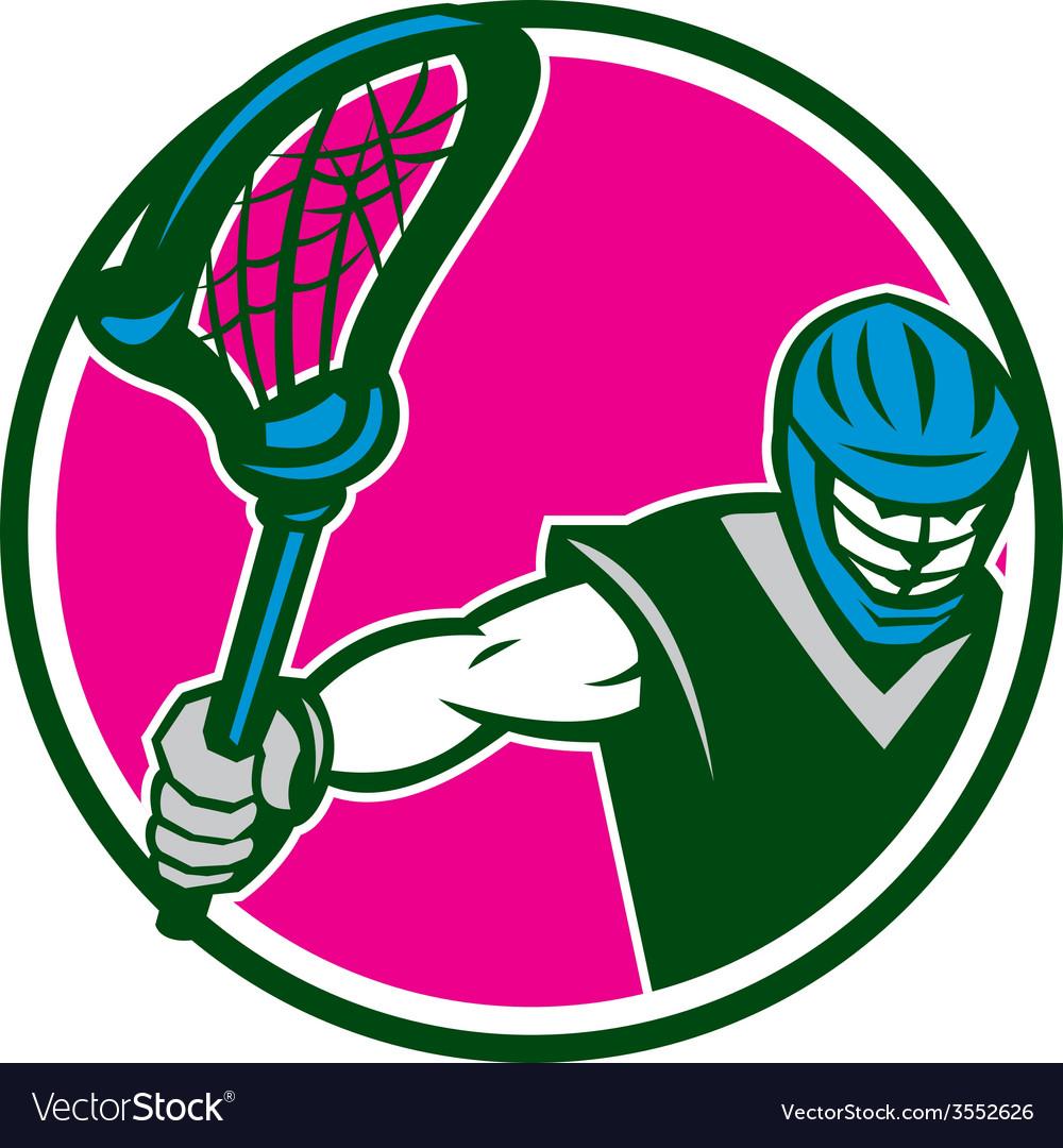 Lacrosse player crosse stick circle retro vector | Price: 1 Credit (USD $1)