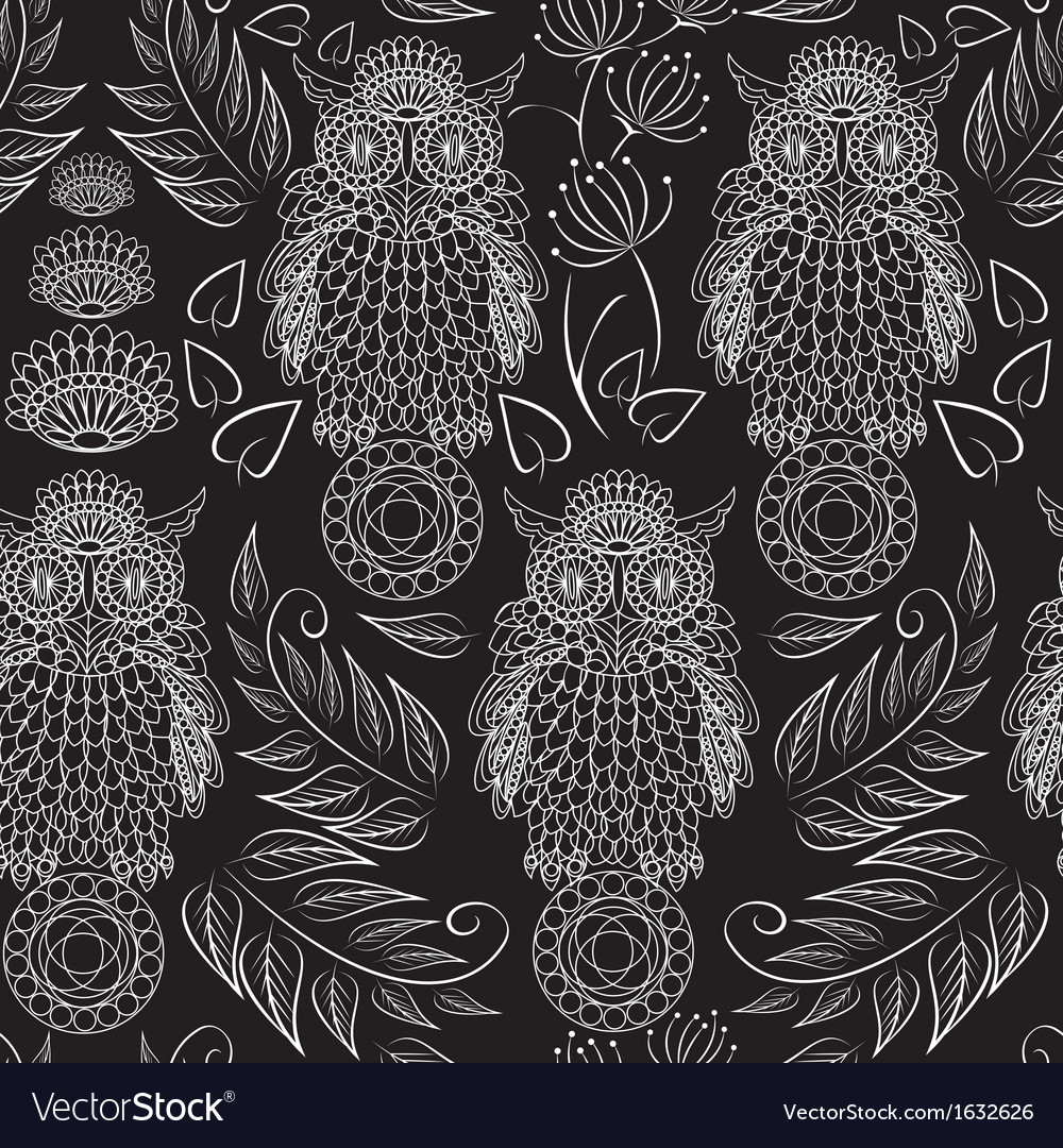 Seamless pattern with lace decorative owls vector   Price: 1 Credit (USD $1)
