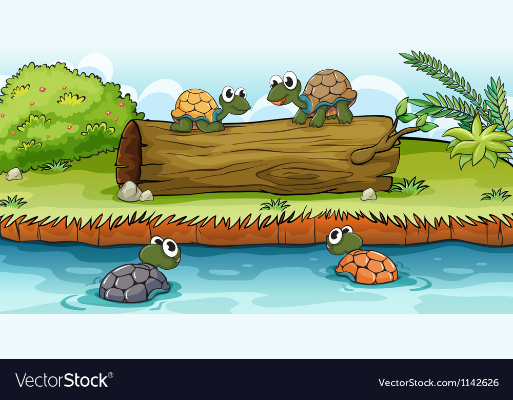 Turtles on water and log vector | Price: 1 Credit (USD $1)