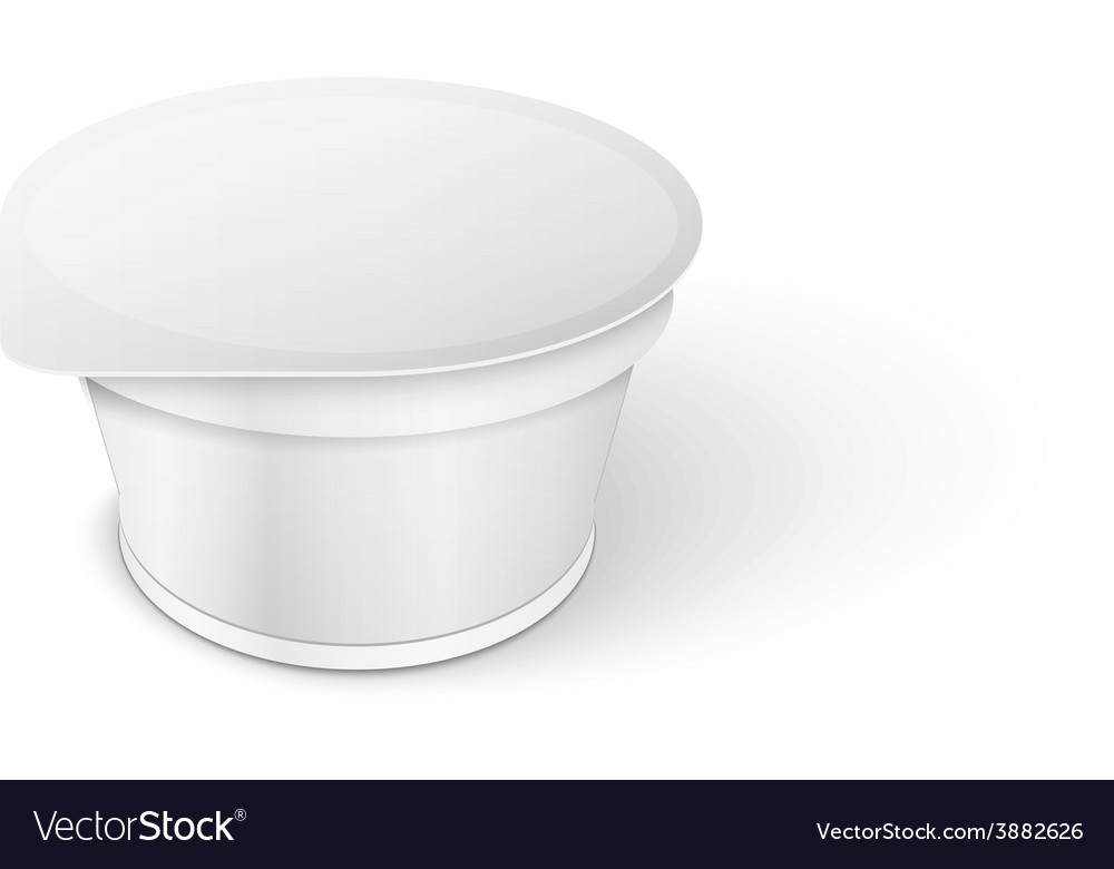 White short and stout tub food plastic container vector | Price: 1 Credit (USD $1)