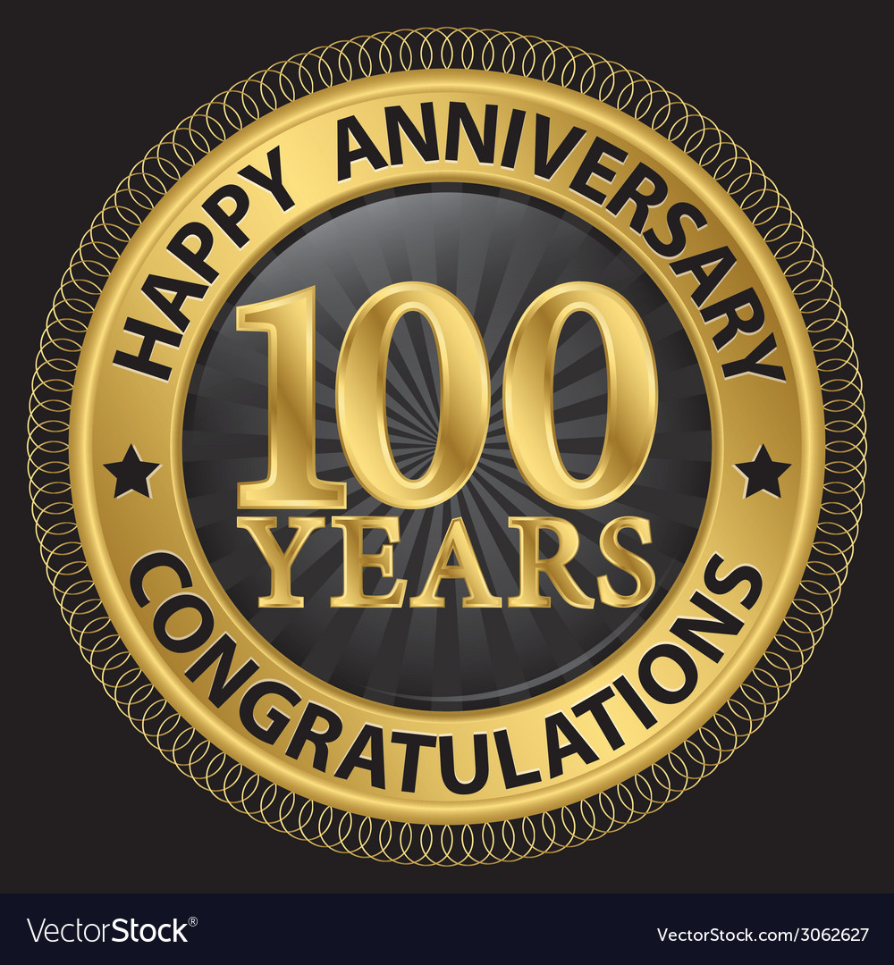 100 years happy anniversary congratulations gold vector | Price: 1 Credit (USD $1)