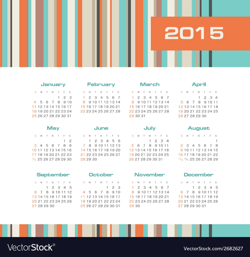 Calendar 2015 year with colored stripes vector | Price: 1 Credit (USD $1)