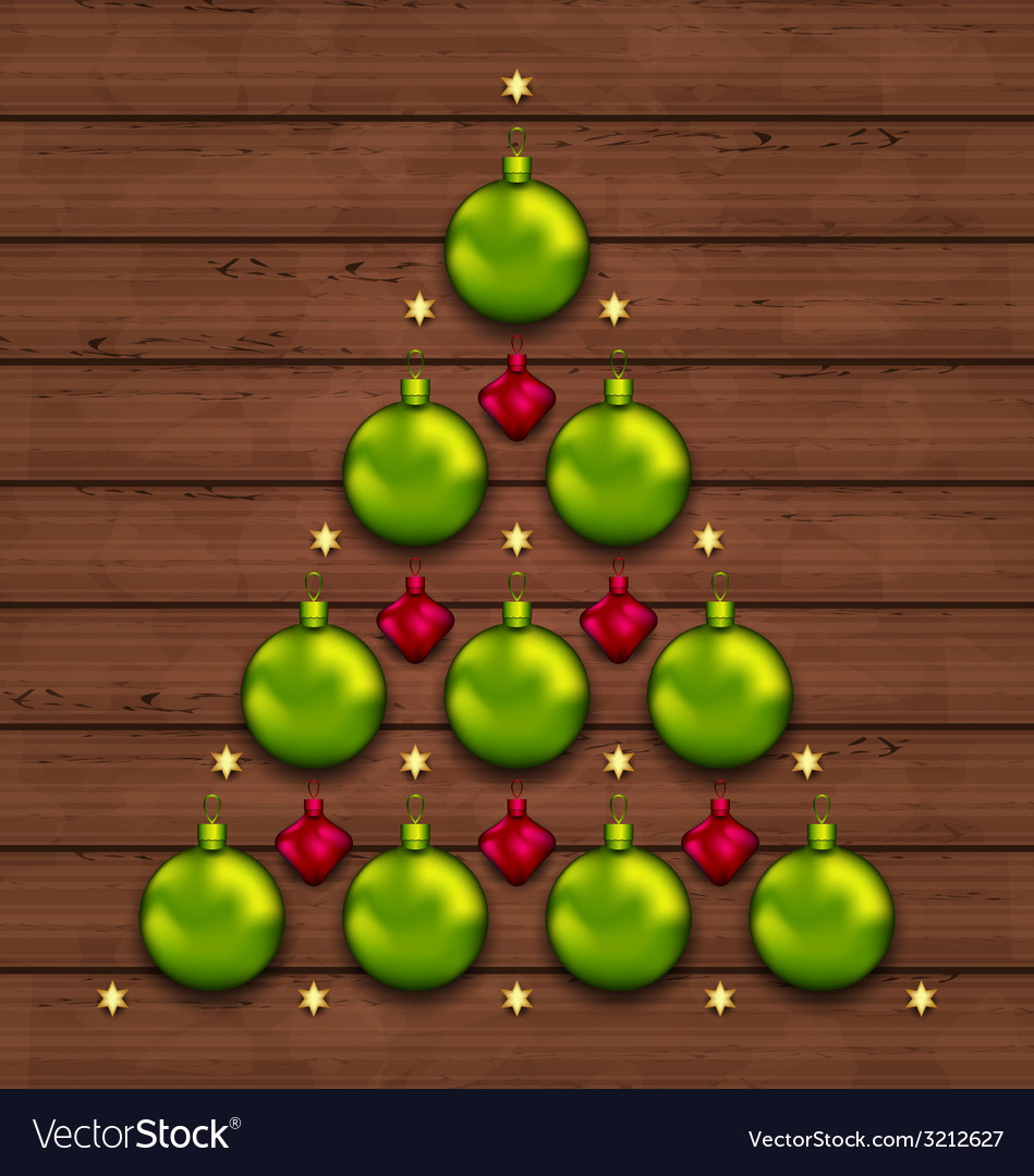 Christmas tree made of baubles on wooden vector | Price: 1 Credit (USD $1)
