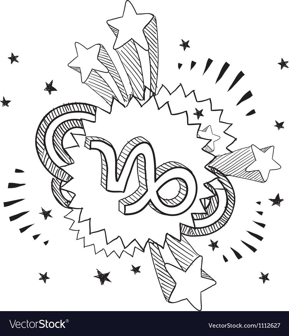 Doodle pop astrology capricorn vector | Price: 1 Credit (USD $1)