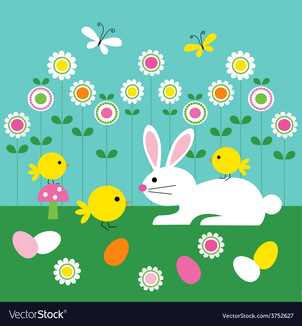 Easter bunny and chicks vector | Price: 1 Credit (USD $1)