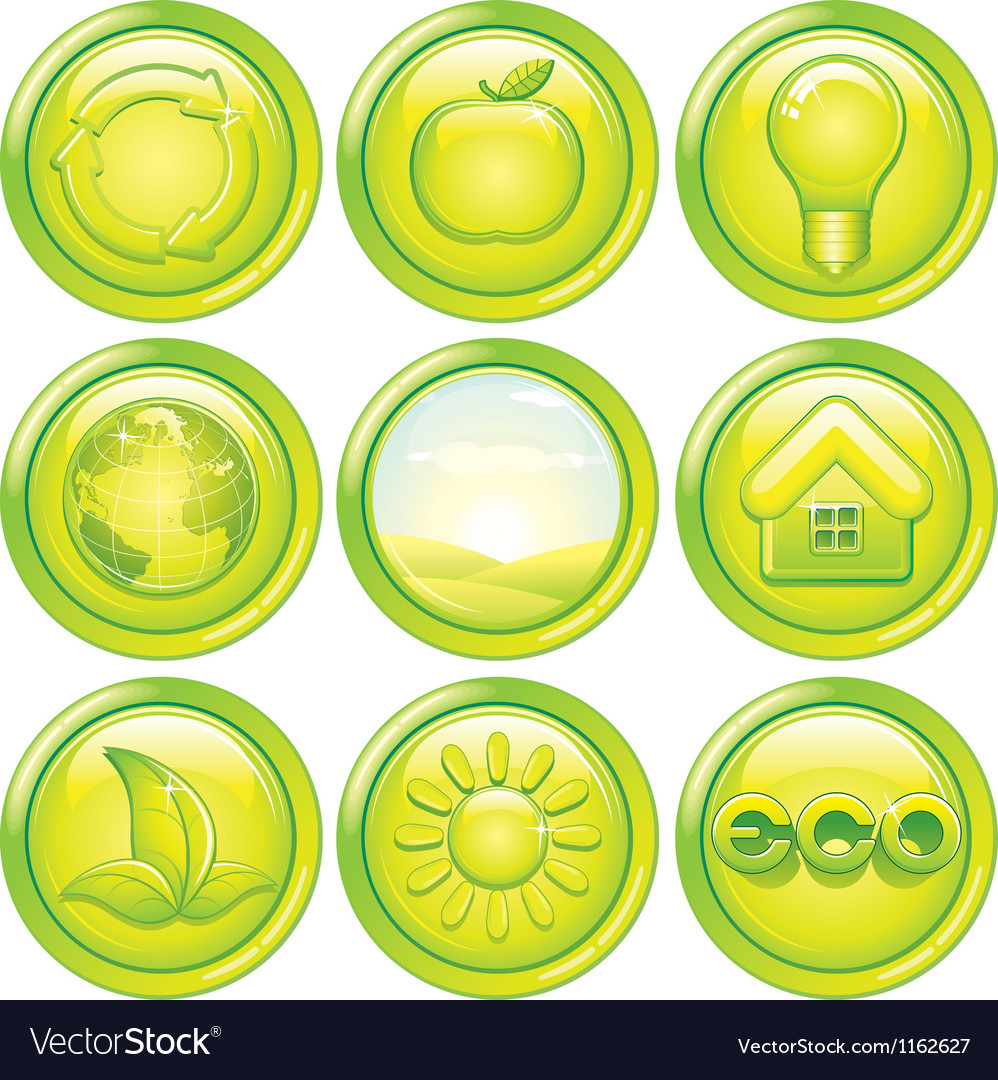 Ecology icon set set of green eco buttons vector | Price: 1 Credit (USD $1)