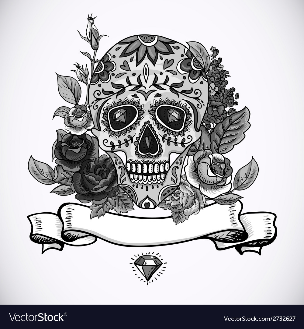 Monochrome skull diamond and flowers card vector | Price: 1 Credit (USD $1)