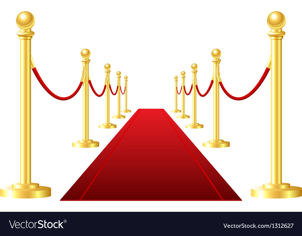 Red event carpet isolated on a white background vector | Price: 1 Credit (USD $1)