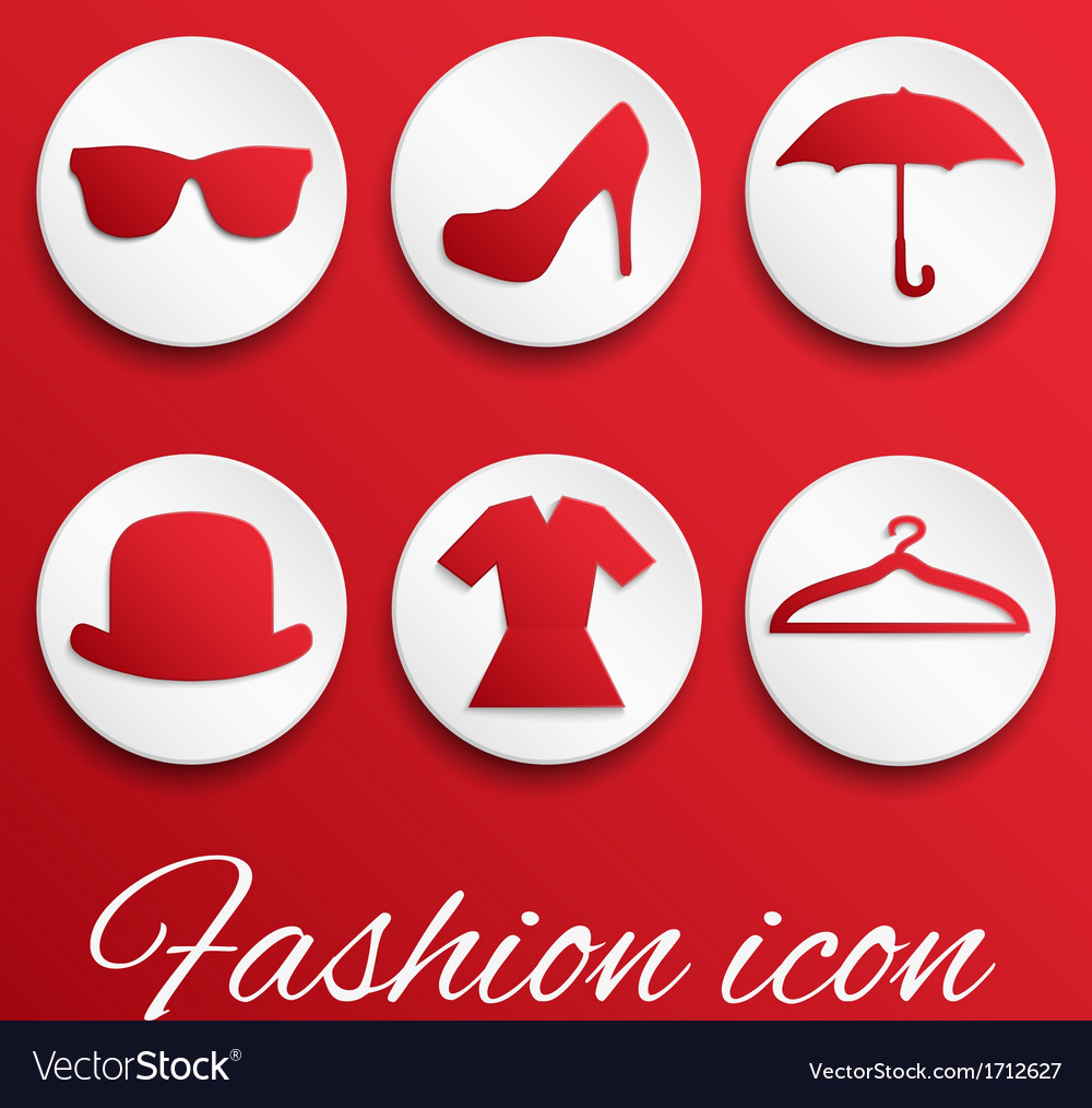 Red fashion realistic button set vector | Price: 1 Credit (USD $1)