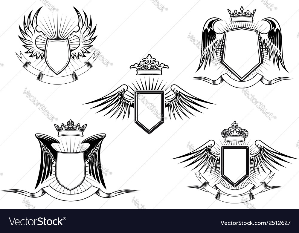 Set of heraldic winged shields vector | Price: 1 Credit (USD $1)