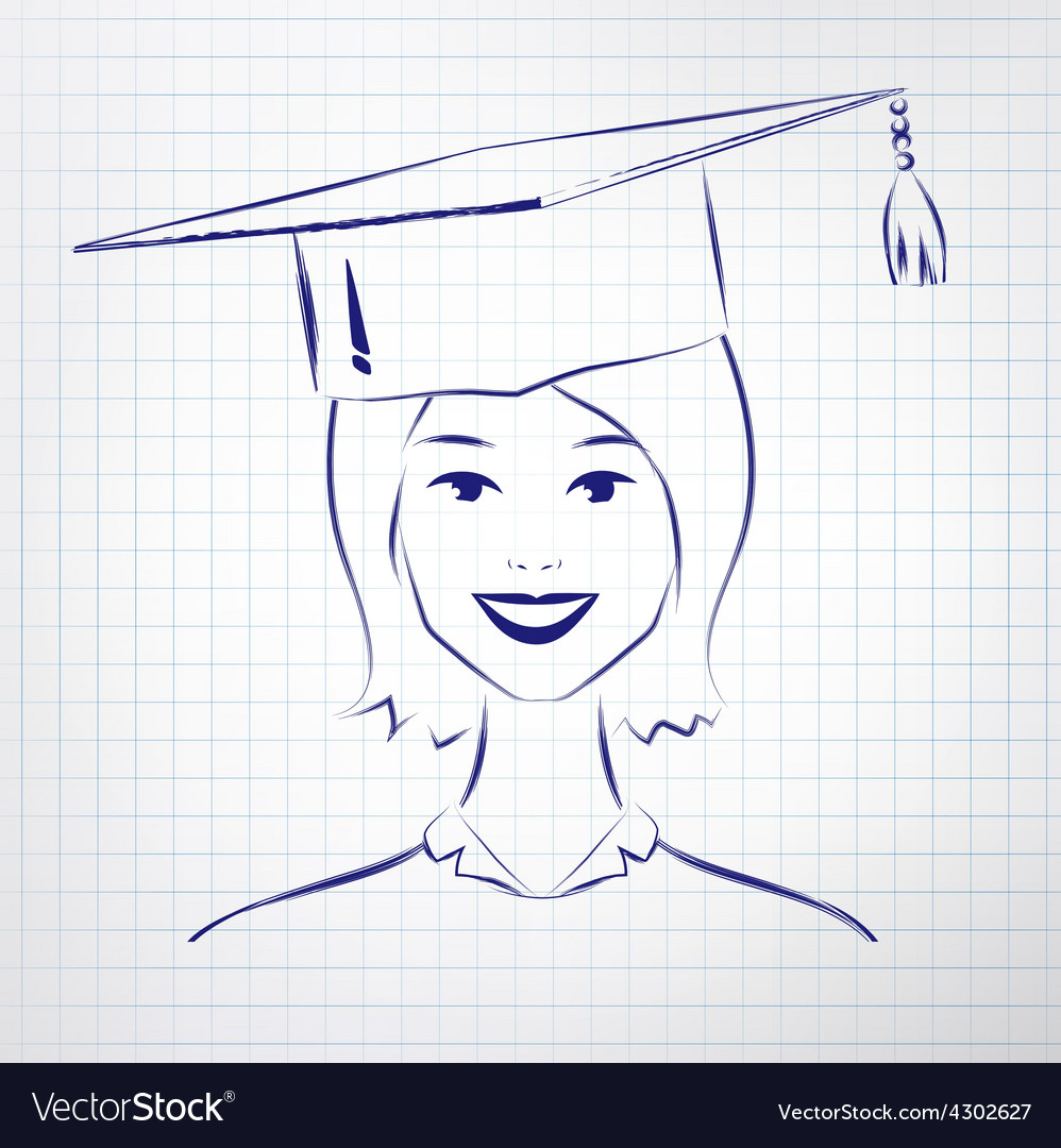Student girl wearing graduation hat vector | Price: 1 Credit (USD $1)