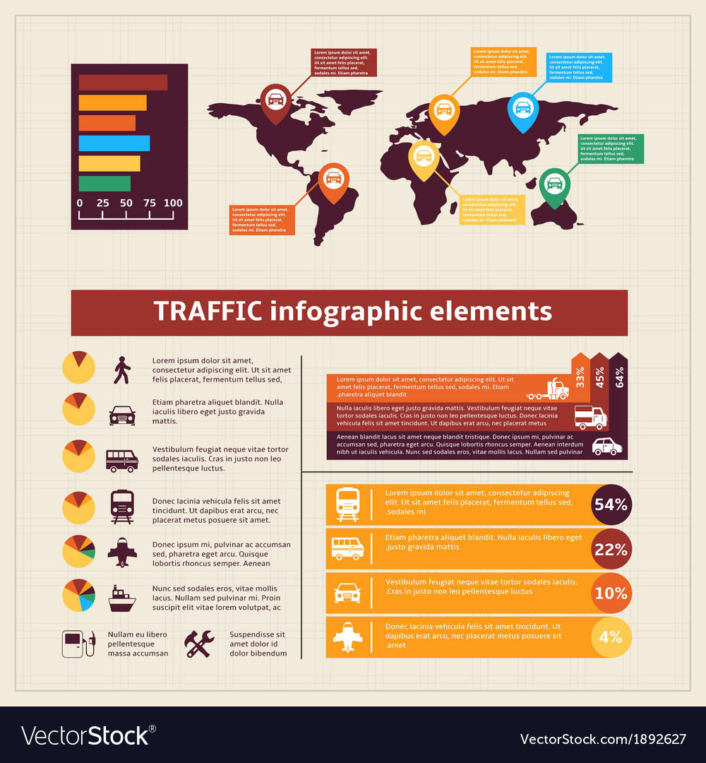 Transport traffic infographics elements vector | Price: 1 Credit (USD $1)