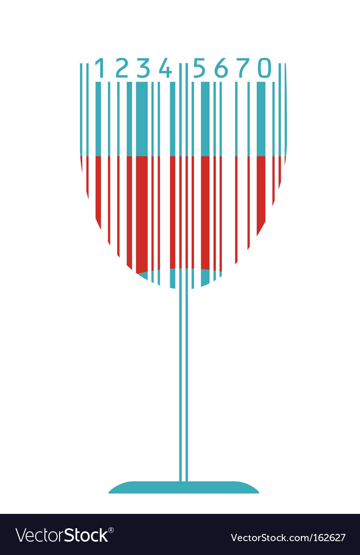 Wine glass and barcode vector | Price: 1 Credit (USD $1)