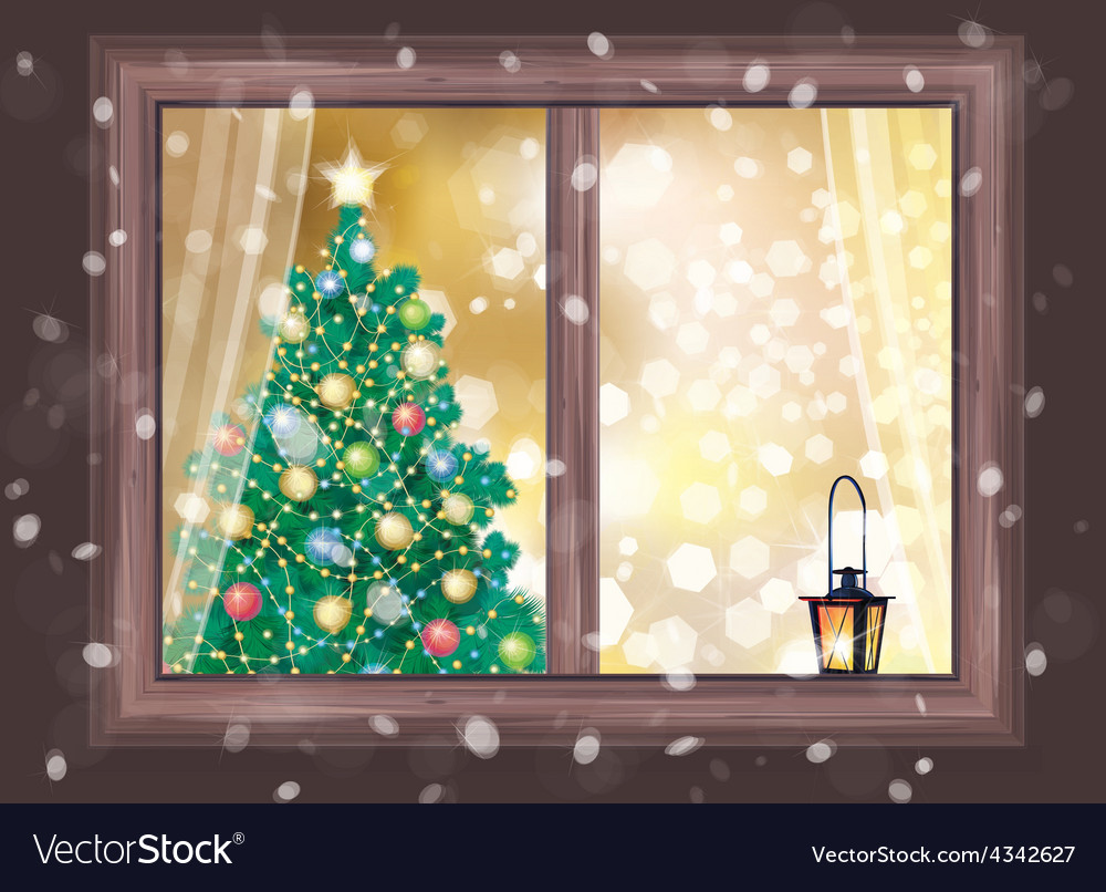Winter christmas tree house vector | Price: 1 Credit (USD $1)