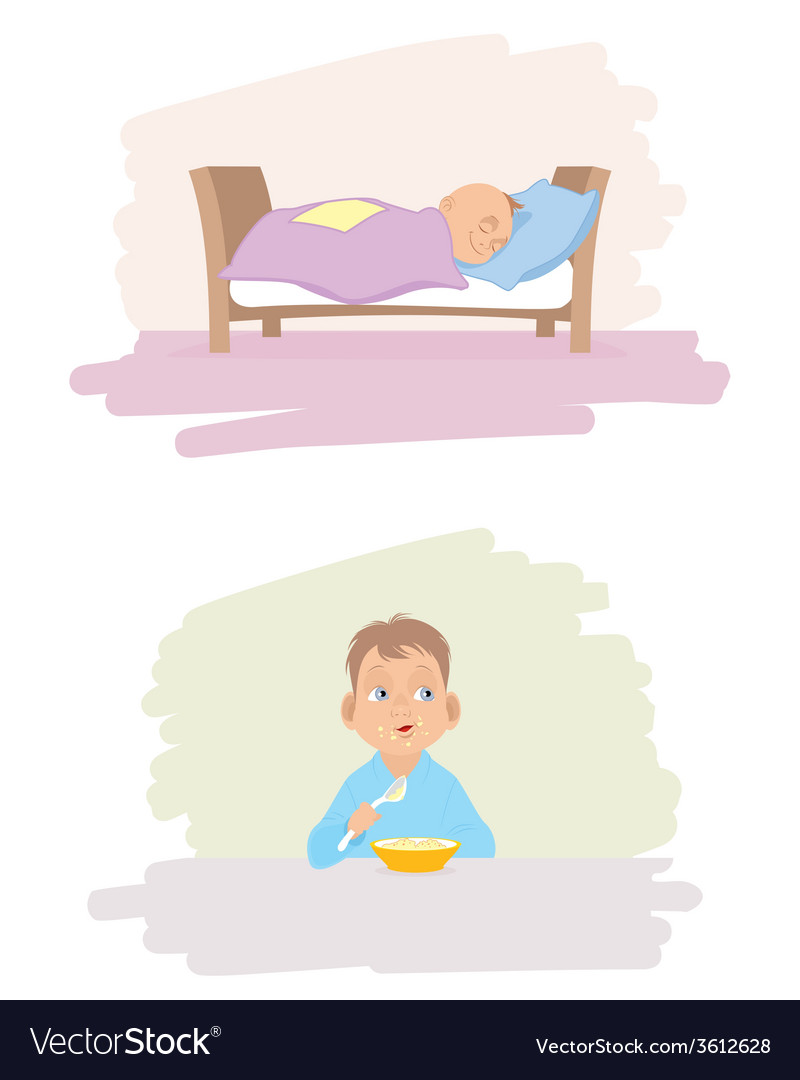 A child sleeping and eating vector   Price: 1 Credit (USD $1)