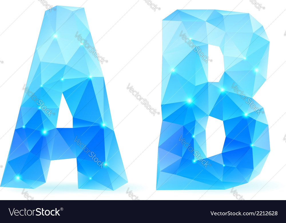 Blue polygonal font vector | Price: 1 Credit (USD $1)