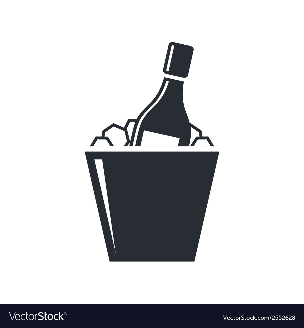 Bottle of champagne in an ice bucket vector | Price: 1 Credit (USD $1)