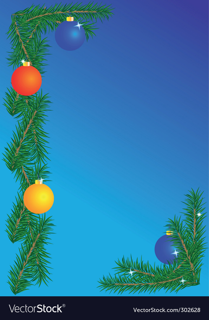 Christmas border on blue background vector | Price: 1 Credit (USD $1)