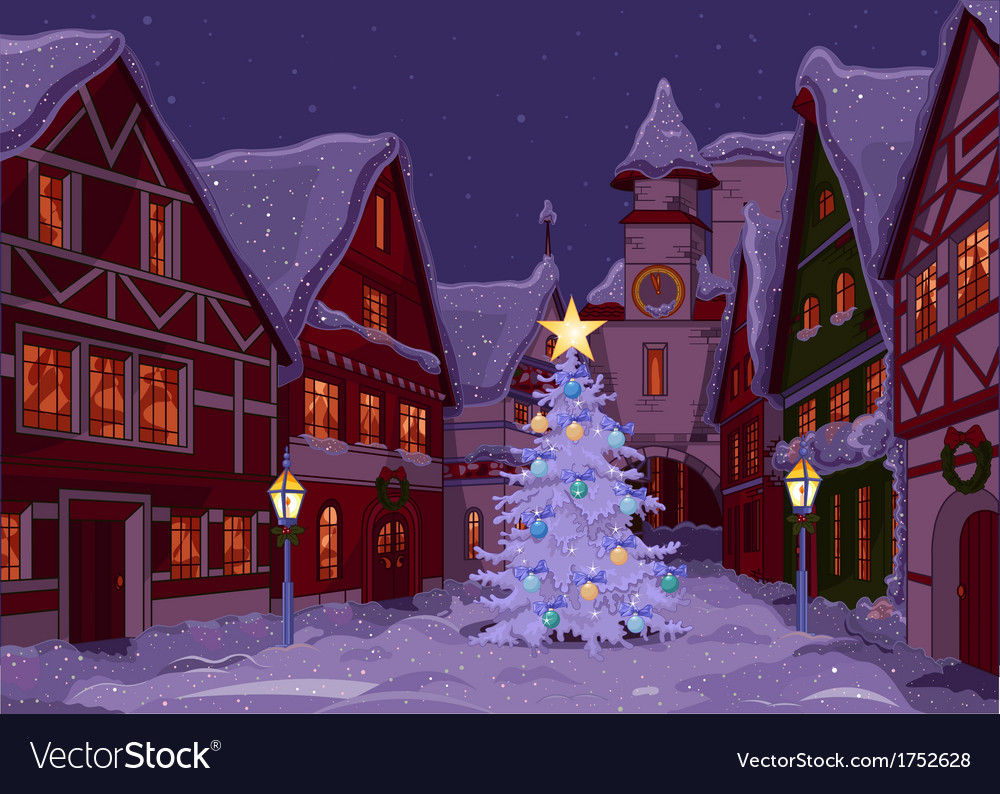 Christmas night at town vector | Price: 3 Credit (USD $3)