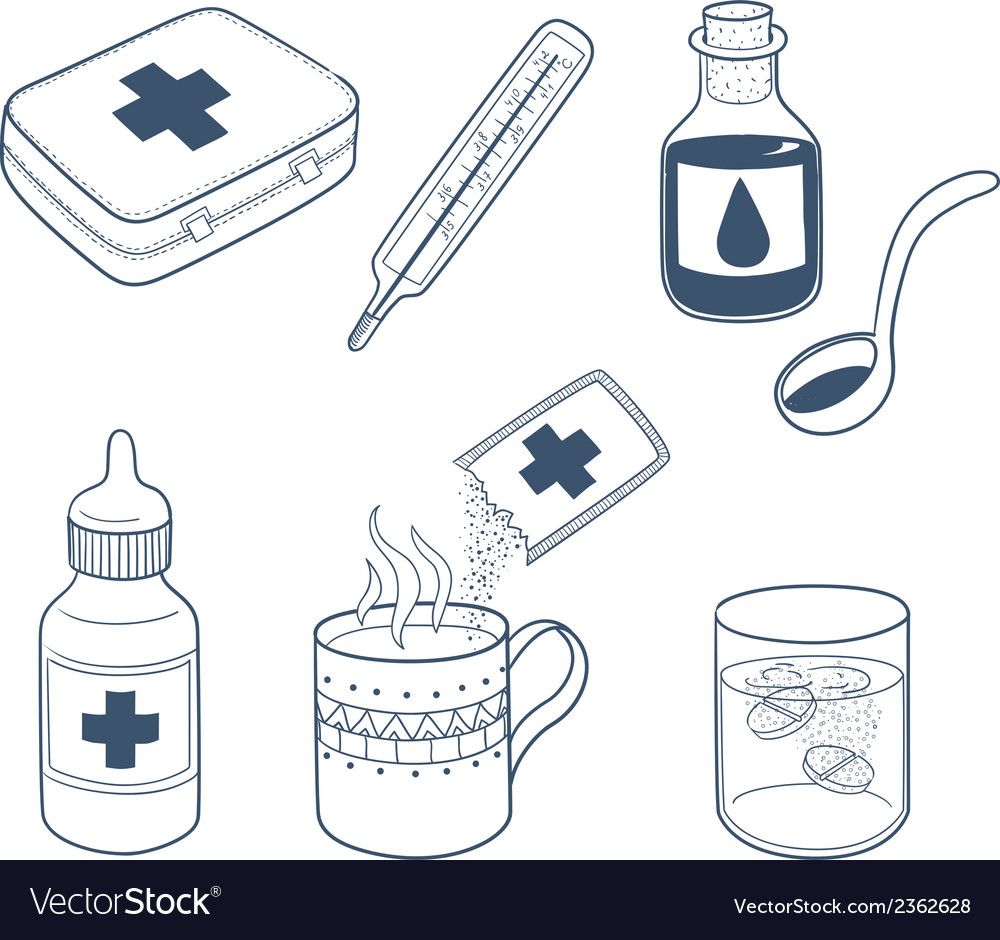 Flu cough and cold fast helpmedicines drugs vector | Price: 1 Credit (USD $1)