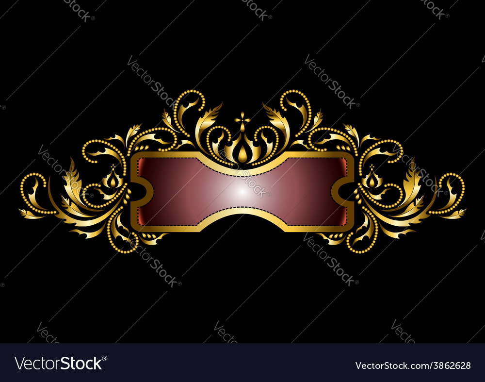 Gold frame with the decor in the old style vector | Price: 1 Credit (USD $1)