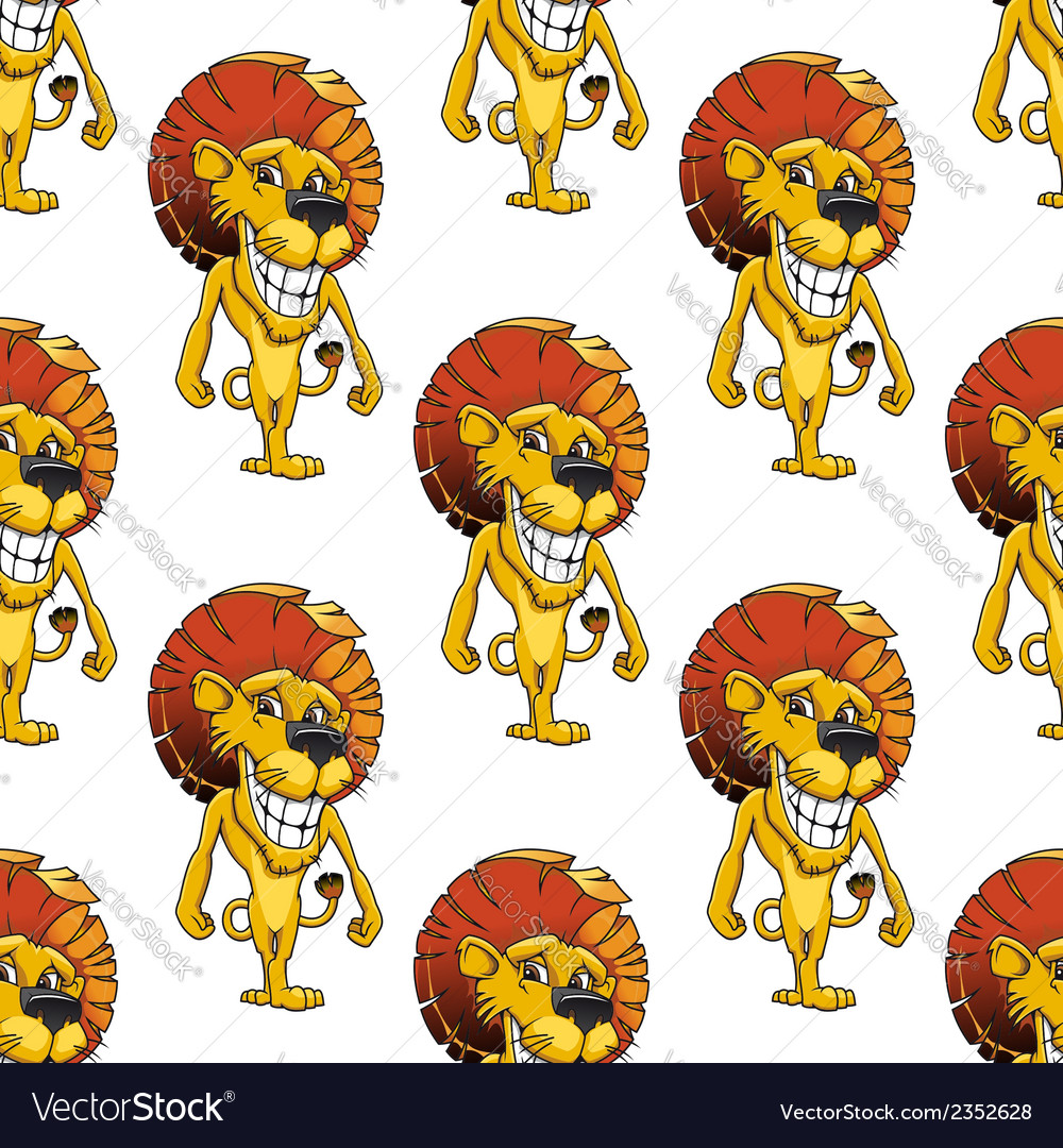 Lion with a cheesy toothy grin seamless pattern vector | Price: 1 Credit (USD $1)