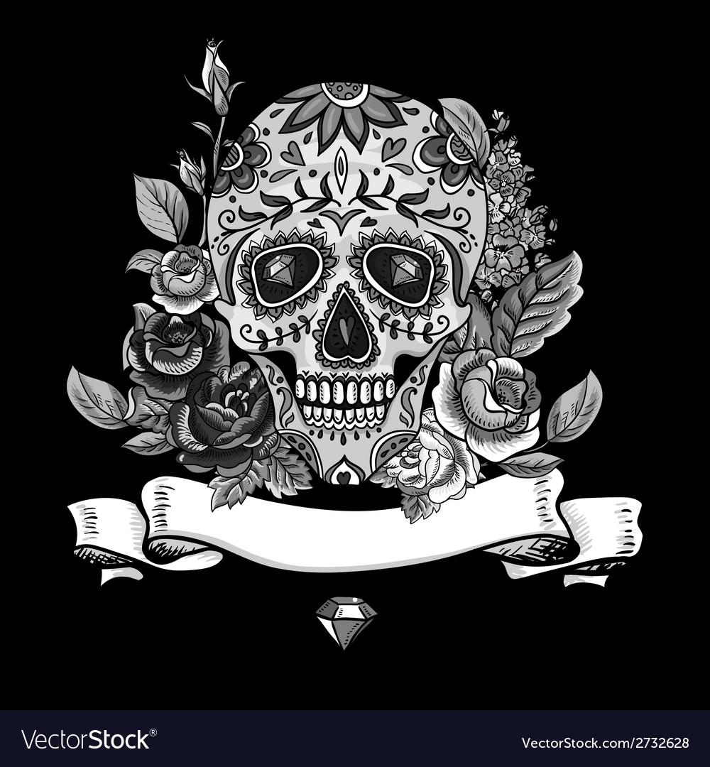 Monochrome skull diamond and flowers card vector | Price: 1 Credit (USD $1)
