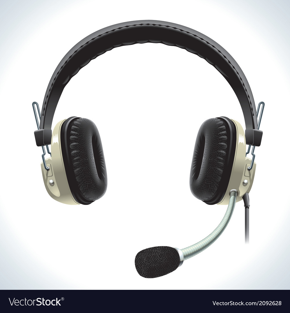 Old headphones with microphone vector | Price: 1 Credit (USD $1)