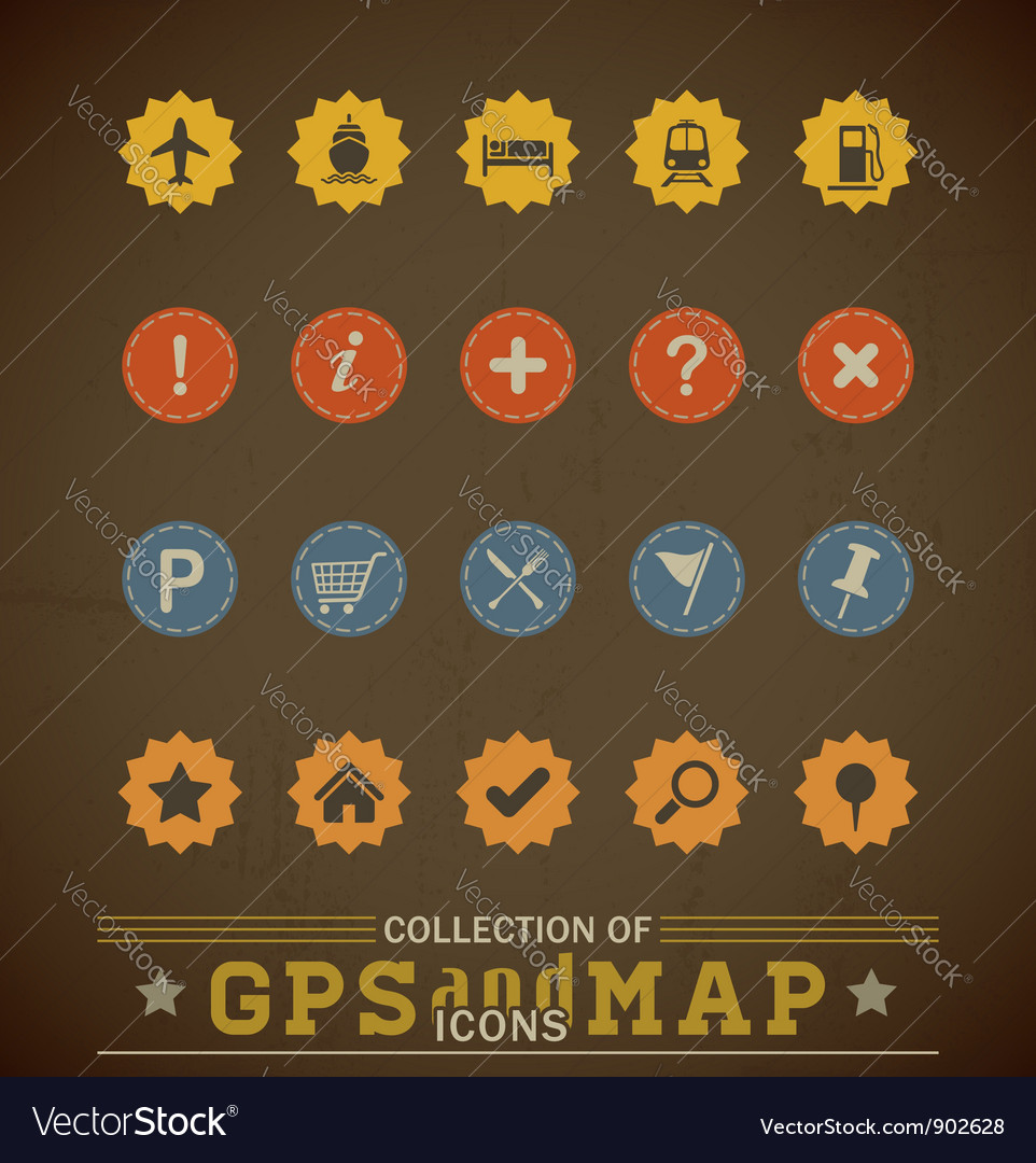 Retro gps icons vector | Price: 1 Credit (USD $1)