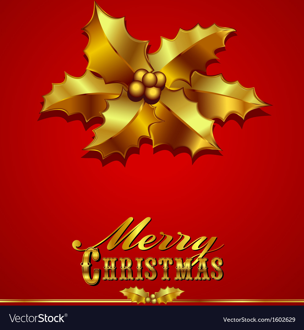 Christmas card with holly vector   Price: 1 Credit (USD $1)