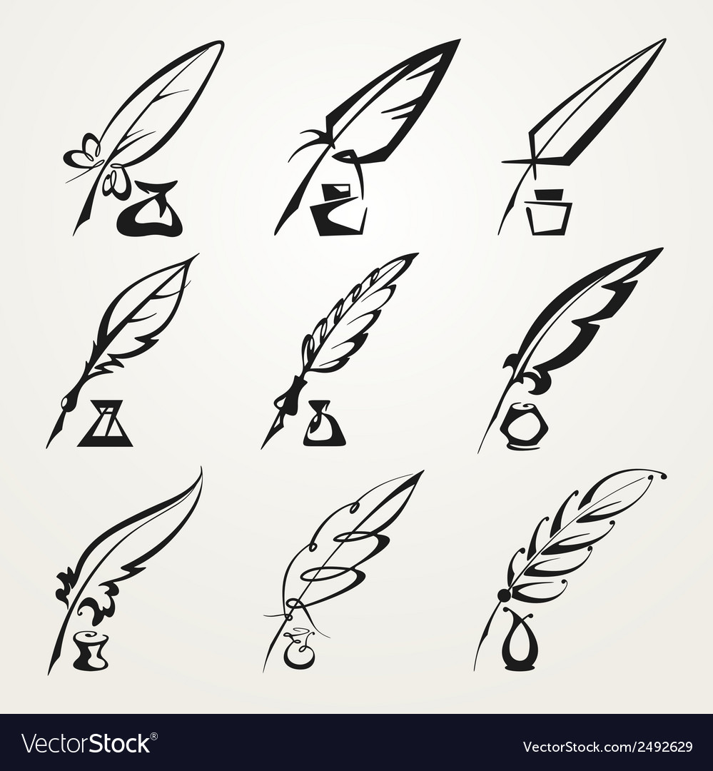 Collection feather pen and ink vector | Price: 1 Credit (USD $1)