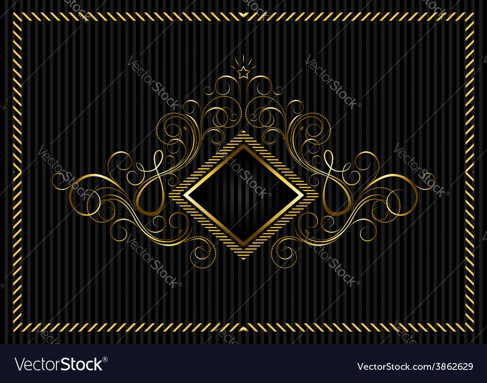 Golden square frame with calligraphic design vector | Price: 1 Credit (USD $1)