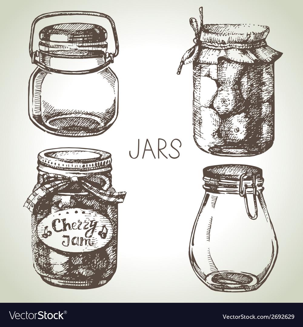 Rustic mason and canning jars hand drawn set vector   Price: 1 Credit (USD $1)