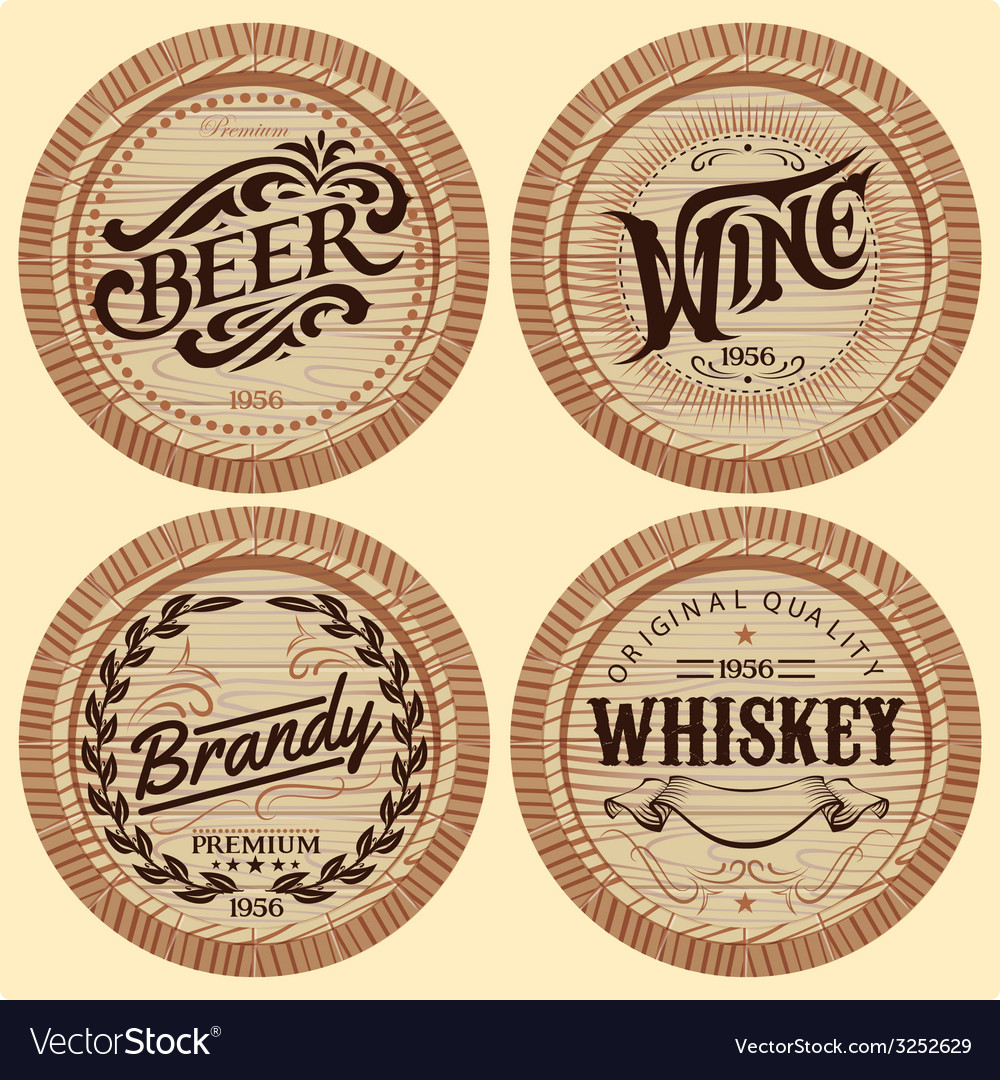 Set of template wooden barrels for alcoholic bever vector | Price: 1 Credit (USD $1)