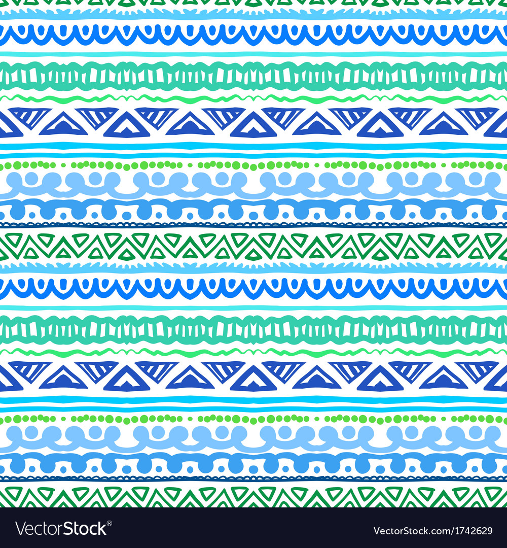 Striped ethnic pattern in vibrant blue and green vector | Price: 1 Credit (USD $1)