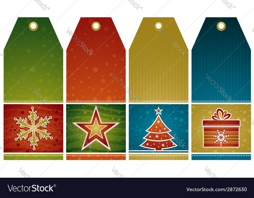 Christmas labels with holiday decoration vector | Price: 1 Credit (USD $1)