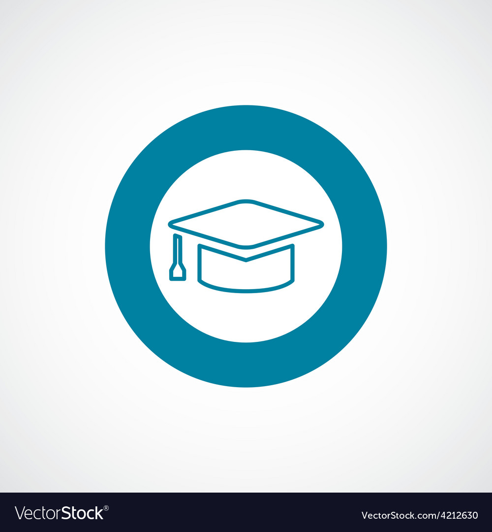 Education icon bold blue circle border vector | Price: 1 Credit (USD $1)